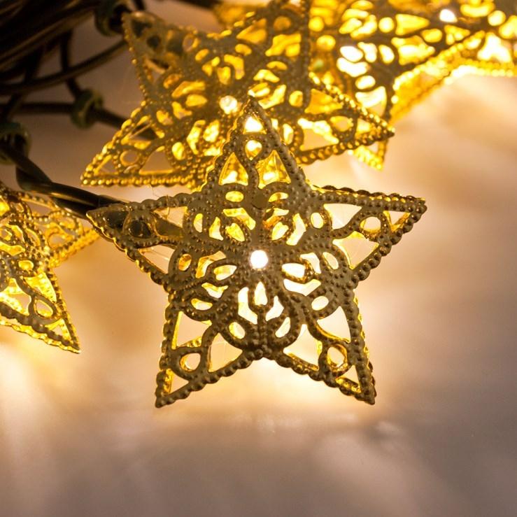 led lichterkette 20 goldene sterne 6 65mt leds warmwei. Black Bedroom Furniture Sets. Home Design Ideas