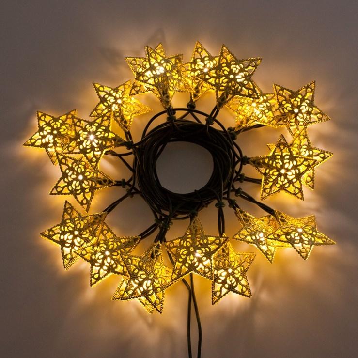 Led lichterkette 20 goldene sterne 6 65mt leds warmwei for Restposten dekoartikel
