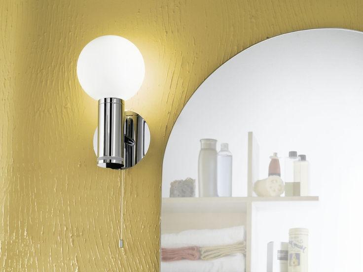 Lampada applique bagno E14 1x40W acciaio,vetro fiacco bianco - Öko ...