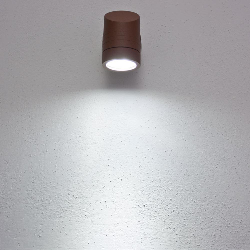 Faro da parete applique led bianco 3w colore ruggine ko light service - Applique da parete led ...