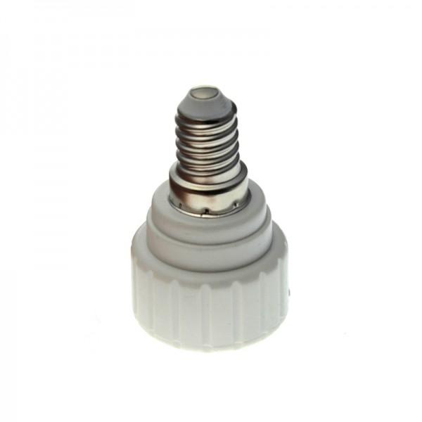 reduzier adapter fassung kunststoff gu10 auf e14 sockel ko light service. Black Bedroom Furniture Sets. Home Design Ideas